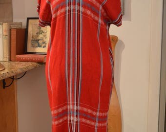 Vintage Gypsy Peruvian red blue plaid embroidered caftan S small ethnic festival boho
