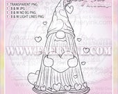 Valentine's Day Tomte Gnome Hearts UNCOLORED Digital Stamp Image Adult Coloring Page jpeg png jpg Fantasy Craft Cardmaking Papercrafting DIY