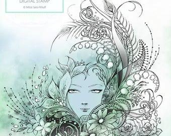 Digital Stamp - Instant Download - Rite of Spring - digistamp - Surreal Floral Design - Fantasy Line Art for Cards & Crafts