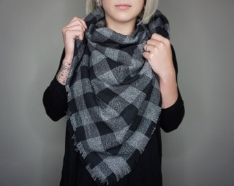 Ready To Ship- Plaid Flannel Blanket Scarf | Charlie & Luna Co., Limited Edition, Soft, Warm, Cozy, Black and Charcoal