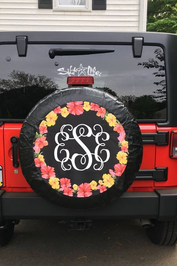 Monogrammed Tire Cover Hibiscus Flowers Spare Tire Cover Hawaiian Flowers Custom Tire Cover Jeep Wrangler Accessories Jeep Tire Cover
