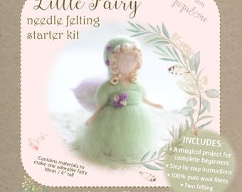 DIY Little Fairy - Complete Beginners needle felting craft kit - comprehensive photo tutorial and gorgeous materials