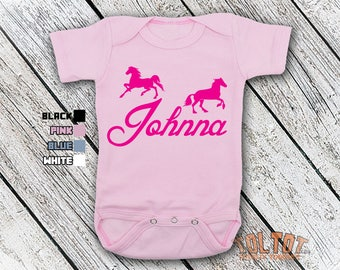 Bodysuit or Toddler Shirt, Horses Personalized Name, Baby Bodysuit, Baby Shower Gift, Girls, Boys