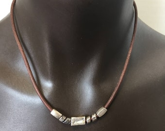 3mm Leather Necklace for Dad/ Center Sterling Silver Beads/ Sterling SilverClasp/Rustic/Artisan