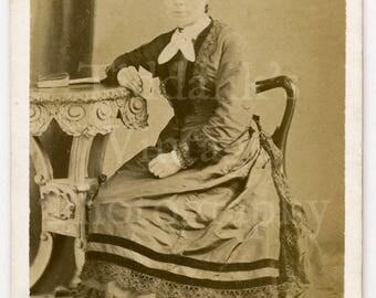 CDV Carte de Visite Photo Victorian Young Attractive Girl Big Neck Bow Pretty Hoop Dress Holding CDV Portrait - Yendall of Taunton England
