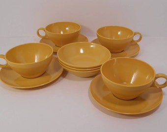 Mid Century Harvest Yellow Gold Melmac Melamine Cups, Saucers and Berry Bowls, 11 Pieces, Retro Camping Glamping RV Trailer Dishes