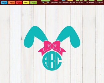 Bunny Ears SVG, Easter Monogram SVG, Easter Bunny SVG, Easter svg, Bow Monogram svg