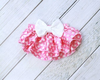 Pink and white polka dot diaper cover, baby girl clothes, infant baby bloomer, baby diaper cover, newborn girl outfit, 1st birthday