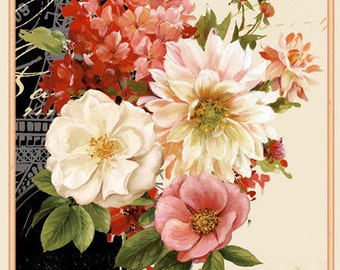 Paris Floral Fabric Panel - From Paris with Love by Lisa Audit for Wilmington Prints - 86350 139 - Priced by the Panel
