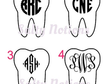 Monogrammed Tooth Shaped Dental Professional Decal Assistant Hygienist Dentist Vinyl