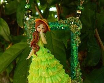 Miss Elegant in green - Fimo doll