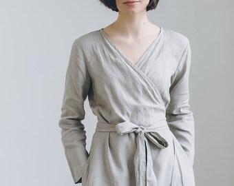 Maternity dress / Wrap linen dress / Oversized linen dress / Winter linen dress / Linen dress / Long sleeves linen dress / #31B ROSEMARY