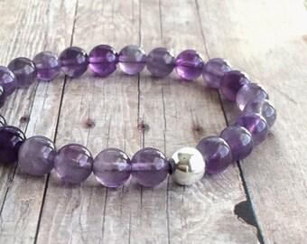Natural Amethyst Bracelet / Round Purple Stone Jewelry / Sterling Silver Bead Stretchy Bracelet / Genuine Gemstone Stretch Bracelet