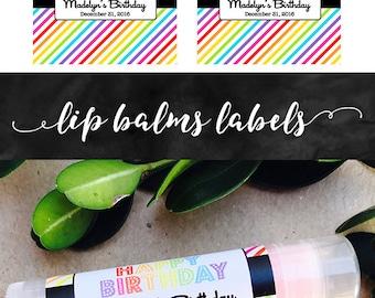 Rainbow Chapstick Label 30ct - Birthday Lip Balm Labels - Party Favors Chapstick Label - DIY Rainbow Party Theme Chapstick Label ONLY
