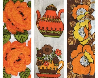 Mix and Matched Set of 3 Retro Tea Towels- Orange- Cotton/Towelling