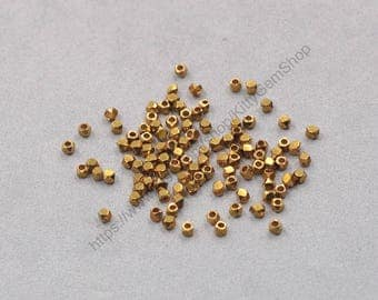 100Pcs, 2mm Raw Brass Cube Faceted Beads , hole size 0.8mm , GY-S062905