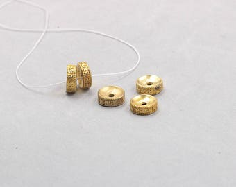 10Pcs, 12mm Rondelle 卐 Raw Brass Beads , Hole Size 2.5mm , GY-G033