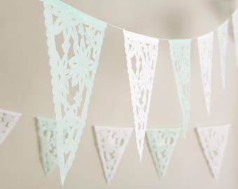 Wedding Garland, Lace Bunting, Papel Picado for Weddings, Bridal shower decor, Flower Bunting, White Lace wedding decor, Rustic wedding,
