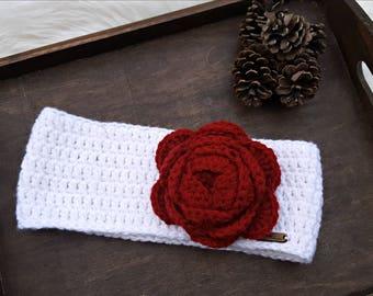 Crochet Flower Headband / Crochet Women's Headband / Crochet Flower Headband / Girl's Crochet Ear Warmer /  Winter Headband / Rose Headband