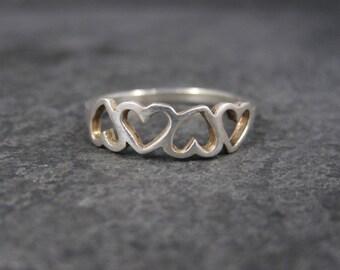 Vintage Sterling Heart Ring Size 8.75