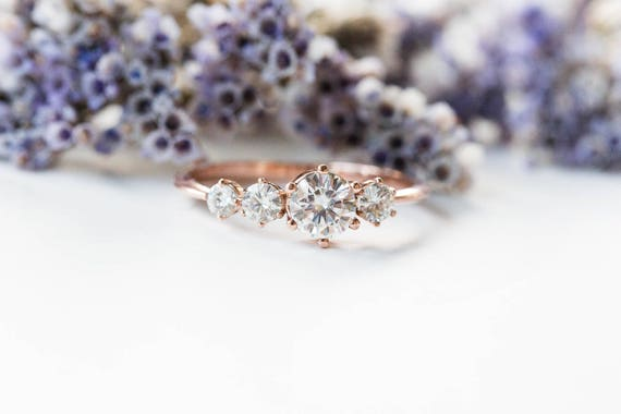 Cluster moissanite 14k gold engagement ring, moissanite engagement ring, unique rustic engagement ring, four stone ring, cluster engagement