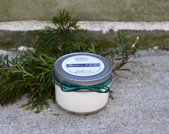 4oz Pinecones & Amber Soy Candle | Winter Scent | Masculine Scent | Mason Jar Candle | Hand Poured | Aromatherapy | Seasonal | Eco-Friendly