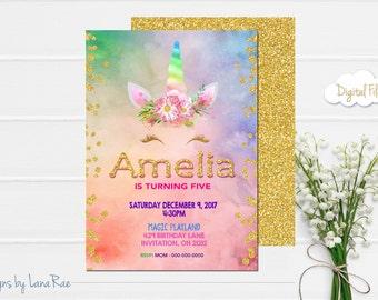 Unicorn Birthday Invitation, Magical Unicorn Invitation, Floral Unicorn Invitation, Rainbow Unicorn Party
