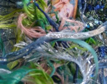 "30.5 yds.""Mermaid Play""fiber art yarn bundle/mixed media fiber collage/mermaid art inspiration/sparkle mixed trim/textile art/novelty yarn"
