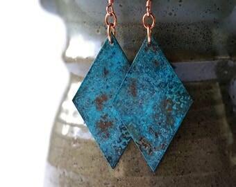 Copper Patina Earrings statement earrings geometric earrings turquoise earrings patina jewelry copper jewelry blue earrings ocean earrings
