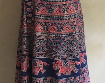 Vintage 70's Cotton Bohemian Wrap Skirt Elephant print - made in India