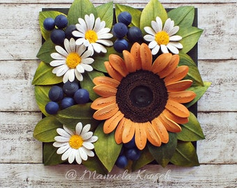 Original Paper Quilling Art - Wall Art - Summer Birthday Gift - Sunflower - Daisies - Floral Decoration - Botanical - Home Decor