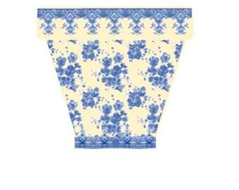 "Reserved for Cori, Blue & Cream Wedgewood Style Planter, X-L 10"" Planter, Custom Designer Wedding Decor Flower Pot"