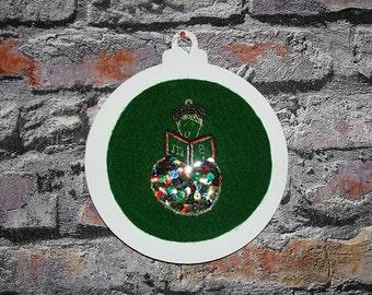 Christmas - Christmas ornament - Embroidery on felt - Christmas Singer Boy - 6 po-15 cm -CE11