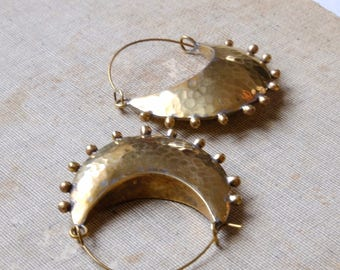 Brass Cresent Hoop Earrings, Tribal Earrings