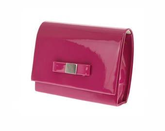 Cute Fuchsia Bow Clutch, Hot Pink purse, Fuchsia Clutch Purse, Bridesmaid Clutch Bag, Maid of Honor purse, Pink wedding purse