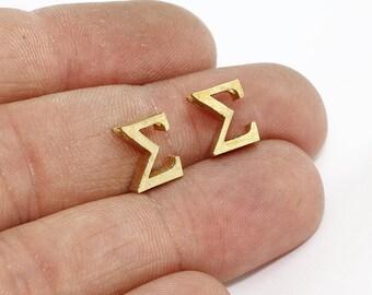 Raw Brass Sigma Letter, Sigma Letter, Greek Letters, Sigma Jewelry, Greek Alphabet, Sigma Charm , SOM256