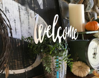 Welcome pick, Welcome Metal Sign, Small Welcome Sign, Farmhouse Decor, Fixer Upper style, Rustic Decor,  Calligraphy sign, Housewarming gift