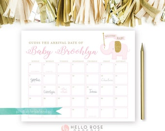 Pink Elephant Guess the Due Date Calendar Game . Pink and Gold Baby Prediction . Printable . Girl Baby Shower . Printable Digital Download