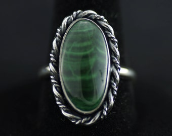 Malachite and Sterling Silver Ring US Size 6.5