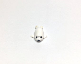 Little Baby Harp Seal Polymer Clay Miniature Sculpture