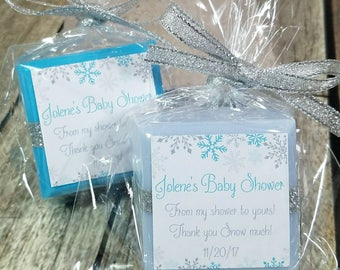 snowflake baby shower favors, winter wonderland baby shower favors, winter onederland for boy, first birthday party, thank you snow much