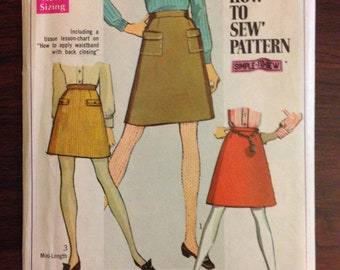 Simplicity 7779 - 1960s A Line Skirt in Knee or Mini Length - Size 10 Waist 24