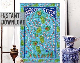 Printable Art, Traditional Ottoman Grape Home Decor, Vintage Floral Iznik Tile Watercolor Art, Turkish Ornamental Art, Digital Download 019
