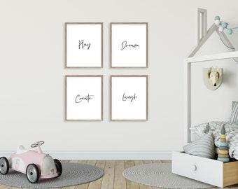 Minimalist Kids Prints - Scandinavian Kids Room - Modern Kids Art - Play Dream Laugh Create