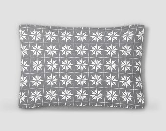 Grey White Sham, Pattern Pillow Sham, Geometric Pillowcase, Shell Pattern Pillow, Standard Size Pillow Cover, King Size Sham