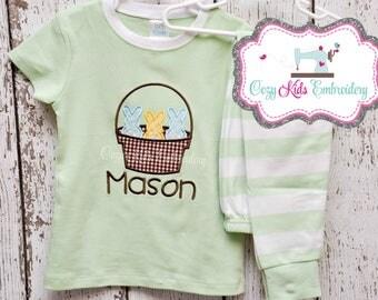 Easter Pajamas, Easter Basket Pajamas, Spring Pajamas, Bunny Pajamas, Boys Easter Pajamas, Girls Easter Pajamas, Applique, Embroidery