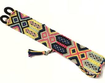 Colorful Tribal Friendship Bracelet, Aztec Friendship Bracelet, Hippie Bracelet, Stackable Bracelet, Cuff, Multicolored, Macrame Bracelet