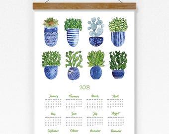 2018 Calendar, 2018 Wall Calendar, Watercolor Cactus Calendar, Cacti Calendar Print, Botanical Wall Calendar 2018, Cactus Art Calendar