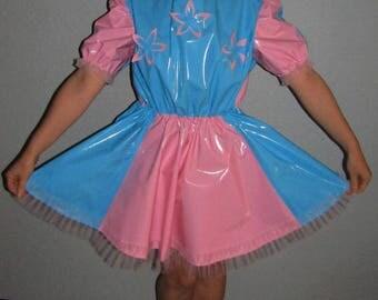 PVC Short SISSY Dress Baby Blue & Pink