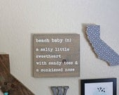 DISCONTINED DESIGN Beach Baby Rustic Handpainted Wood Beach Sign